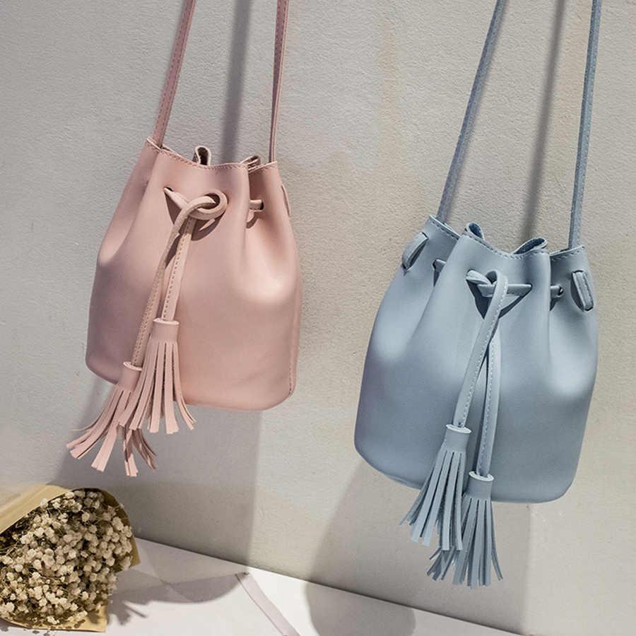 Vintage Tassel Crossbody Bucket bolsa de lujo para mujer bolsos de hombro para mujer con cordón bandolera bolsos bandolera saco principal