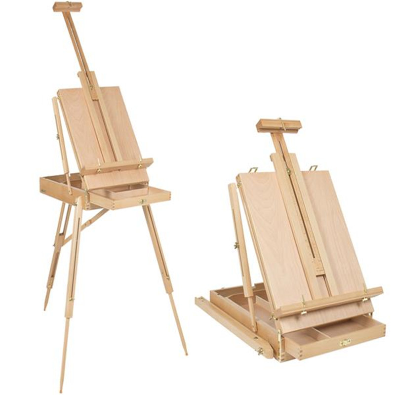 Premium Wooden Oil Painting Easel Red Beech Portable Sketch Box With Palette 50*34.5*150cm Wood Artist Art Display Easel Craft