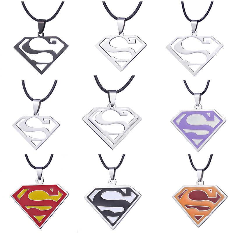ZRM biżuteria ze stali nierdzewnej Superman S Symbol Logo naszyjnik skórzany łańcuszek dla mężczyzn prezenty