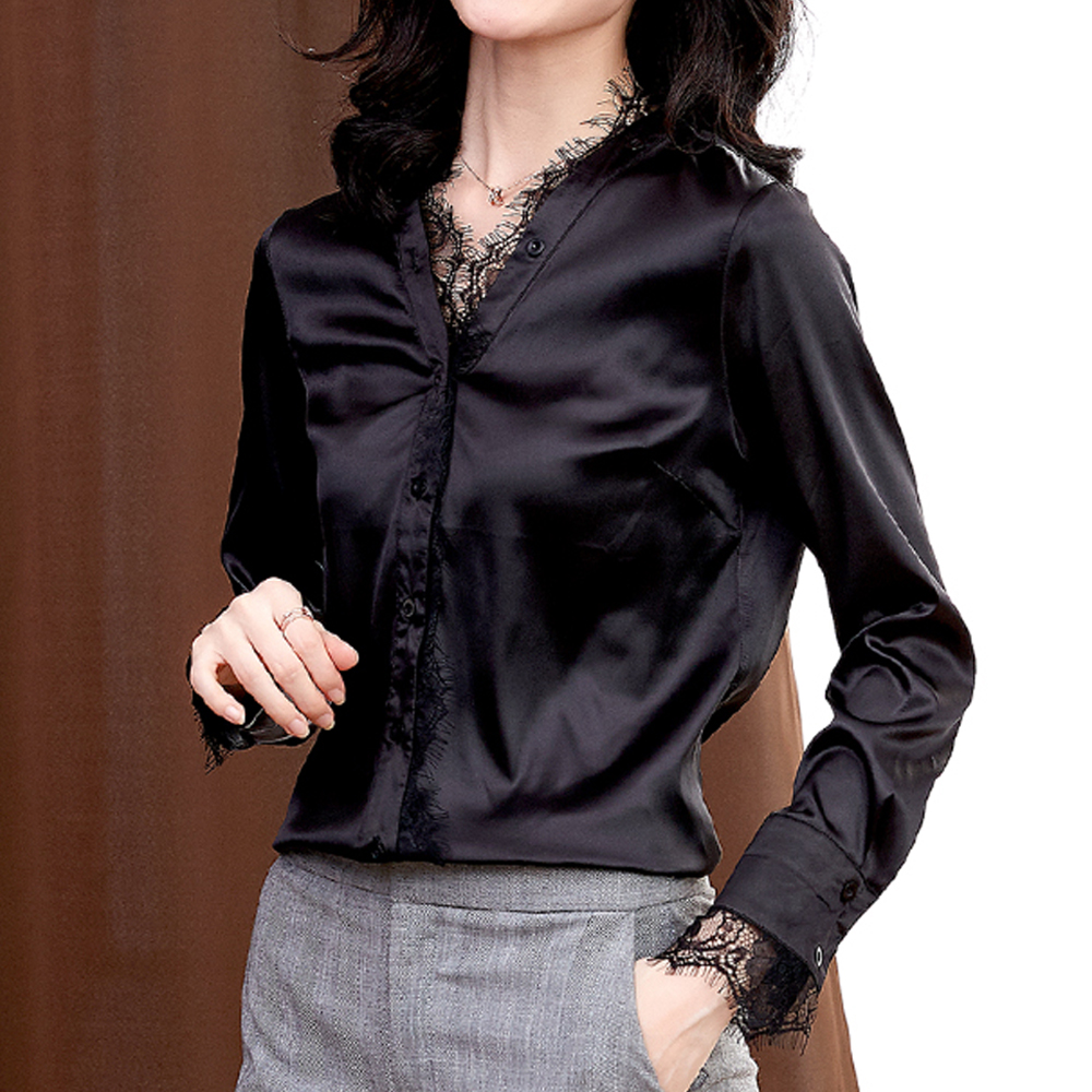 Sexy women lace V-neck silk shirts long-sleeved stretch satin wild tops and blouses elegant Ladies shiny office casual shirts
