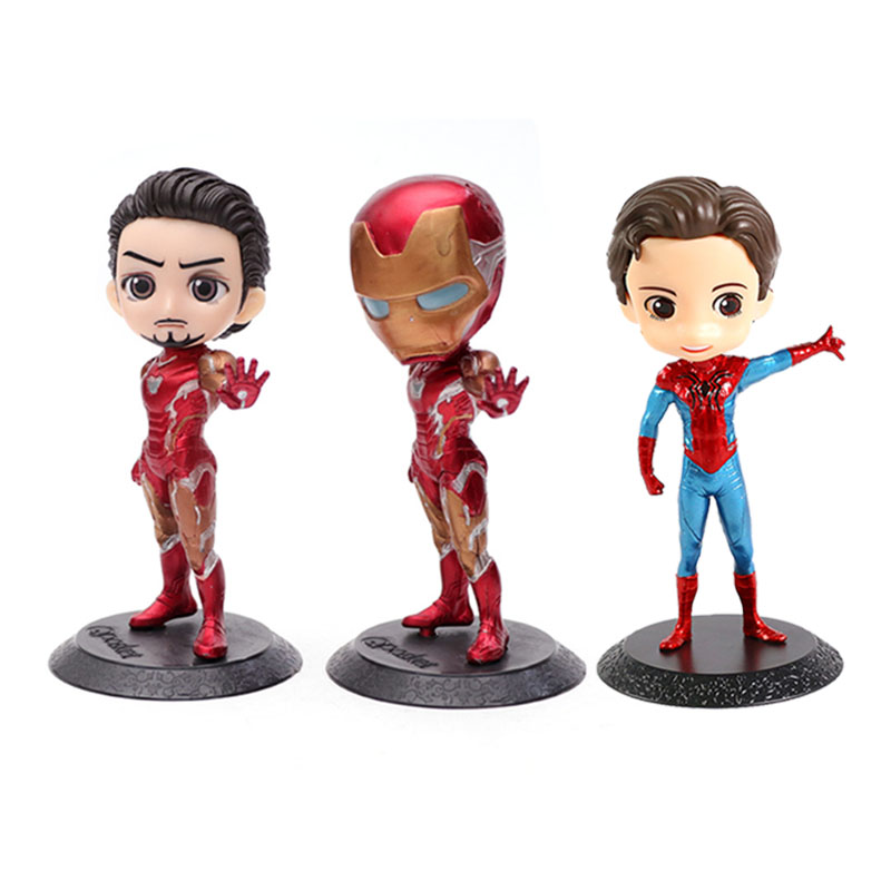 Marvel Avengers Q Posket Action Figure Toys Iron Man Spider Man 14cm PVC Collection Model Toys For Kids Birthday Christmas Gift
