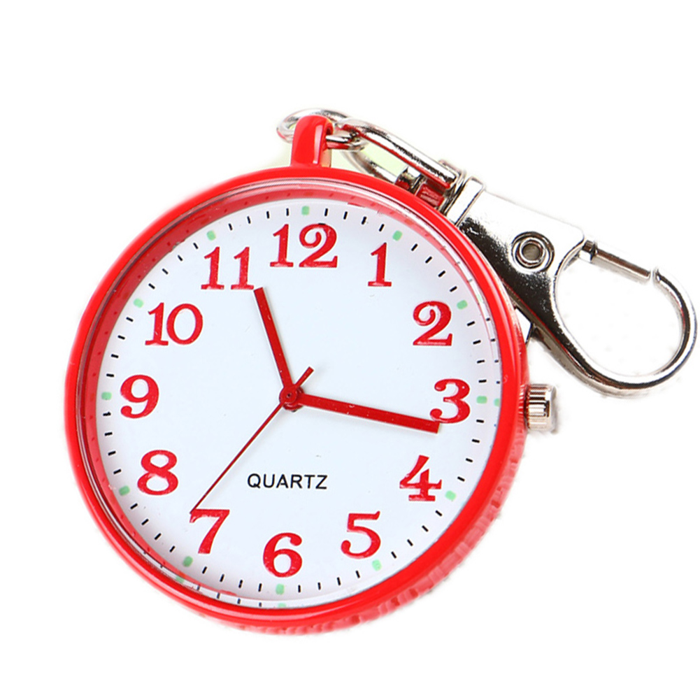 Quartz Pocket Watch Keychain Clocks Round Dial Portable Simple Pendant For Women Men -MX8