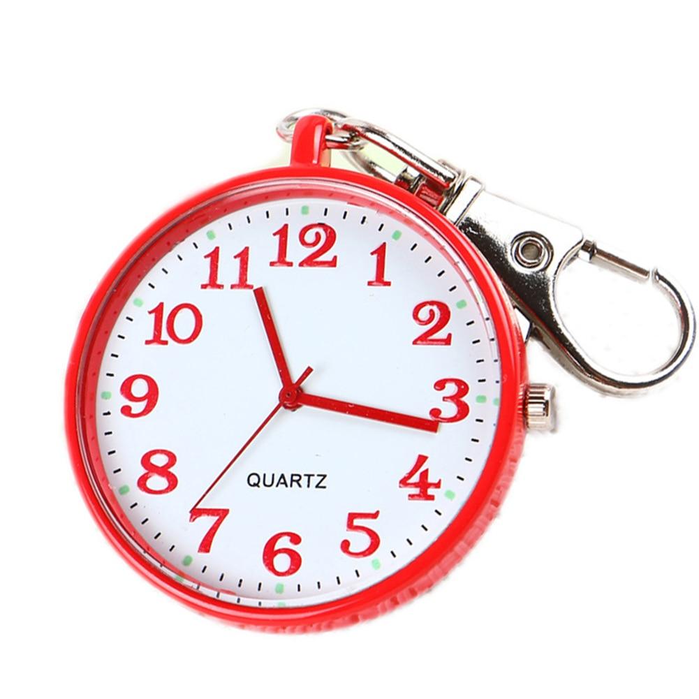 Quartz Pocket Watch Keychain Clocks Round Dial Portable Simple Pendant For Women Men -MX8