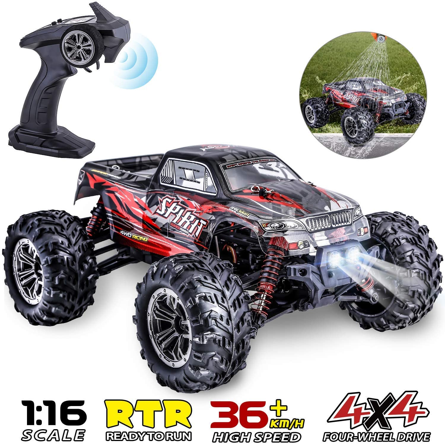 Histoye Remote Control Car IPX4 Waterproof Off Road RC Cars 1:16 // 36km/h Monster Hobby Cross-Country Buggy with Headlights(China)