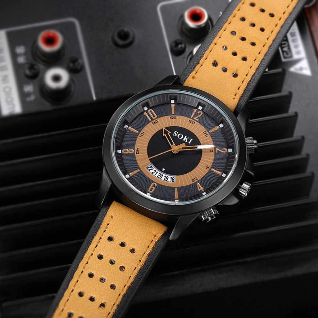 Plataforma Da Forma dos homens Quentes Relógio de Quartzo Calendário de Marcação Grande Matagal Cor Sólida Cinto Relógio de Quartzo Militar часы мужские relogio50 *