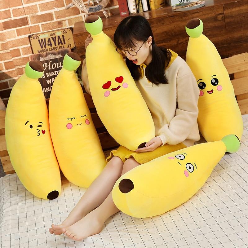 1pc 80/100CM Cute Banana Fruit Plush Toys Soft Stuffed Plant Pillow Dolls for Children Sleep Cushion Toy Birthday Gift for Kids