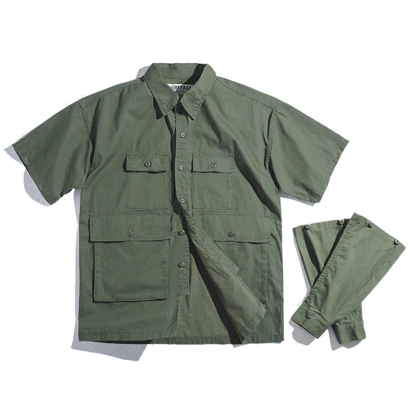 Maden גברים של רטרו צבא ירוק להסרה שרוול חולצה בציר גדול כיס חולצה גברים