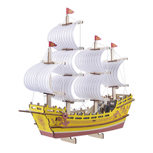 3D wooden three-dimensional jigsaw puzzle DIY educational toys Chinese ancient silk merchant ship