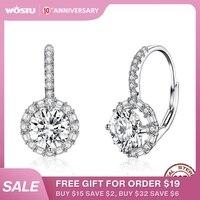 WOSTU luxe cerceau argent boucles d'oreilles 925 en argent Sterling cubique Zircon mode moderne femmes boucles d'oreilles bijoux cadeau de mariage CQE508