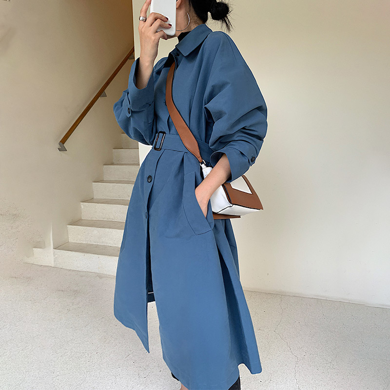 Women 2019 Spring And Autumn Fashion Long Sleeve Korea Style Vintage Loose   Trench   Female Casual Khaki Blue   Trench   Coat Cloth