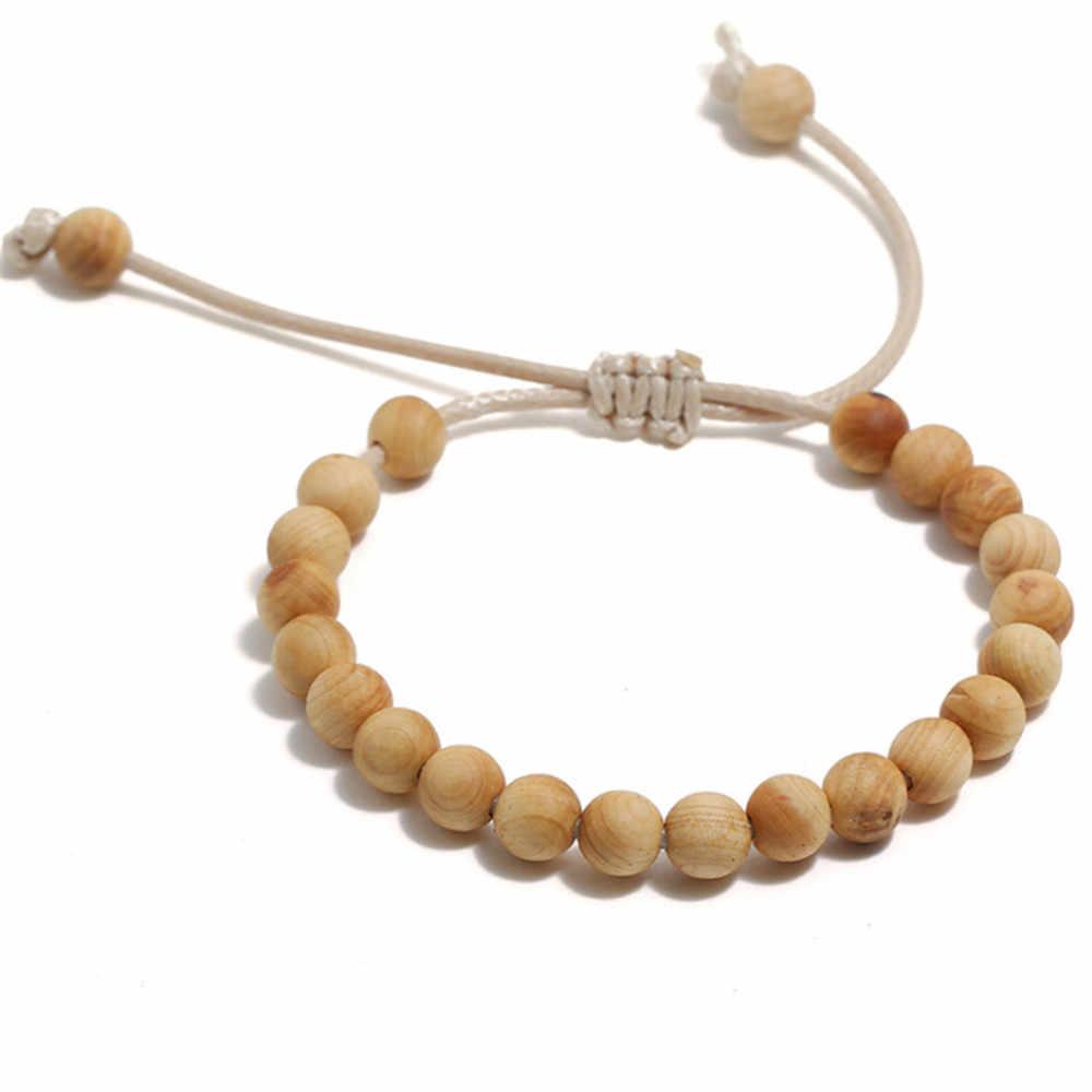 Commercio all'ingrosso Naturale Perline di Legno Braccialetti di Corda Regolabile Braccialetti Buddista Meditazione Rosario Braccialetto Per Gli Uomini Le Donne Gioielli Regali
