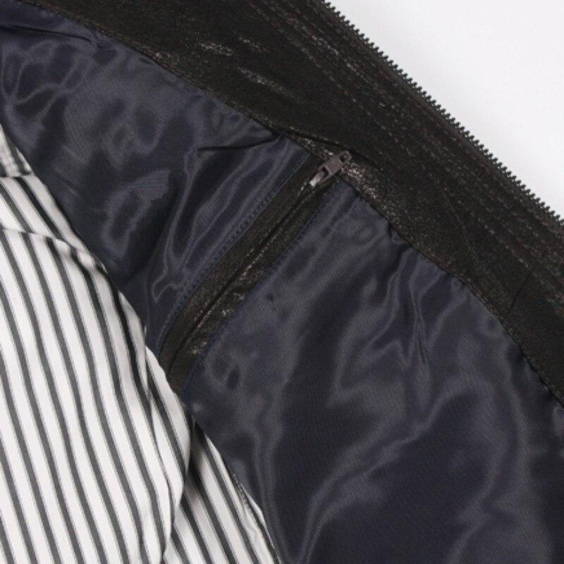 Relaja la capa de cuero del cerdo de los hombres cortocircuitos de la moda del cuero del abrigo 2020 nuevo abrigo de la cremallera de los hombres - 3