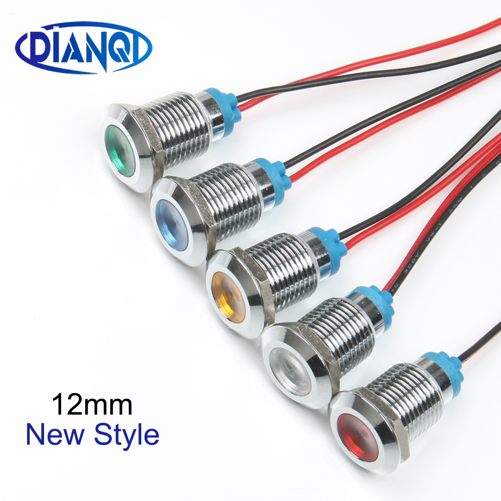 LED Metal Indicator Light Single/double Color Customized 12mm Waterproof Signal Lamp Dot With Wire Red Yellow Blue Green White