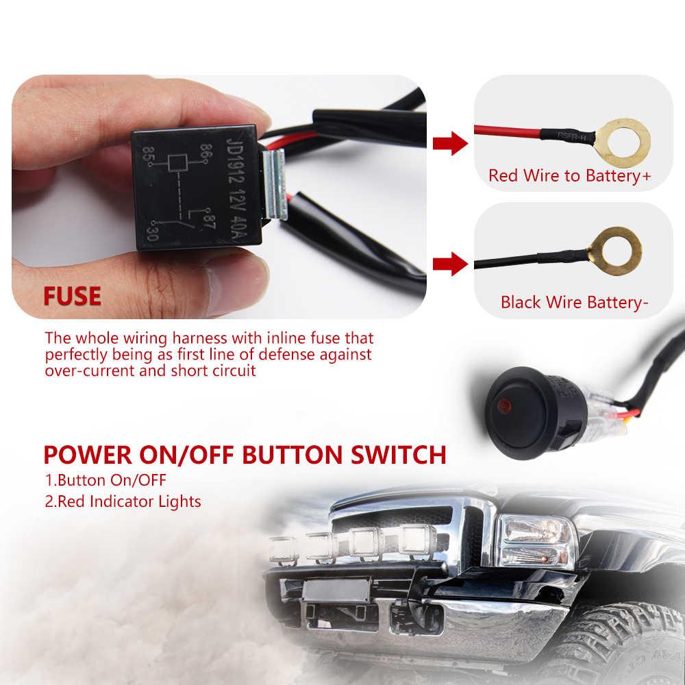 Co Lampu Mobil LED Light Bar Kawat 3M 12V 24V 40A Wiring Harness Relay Tenun Kabel Kit sekering untuk Mengemudi Offroad Lampu Kerja LED