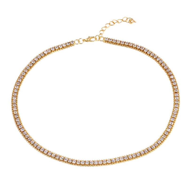 Fashion Jewelry 1 Row Necklaces Luxury Brand   Hip Hop Bling Gold Color Bling Iced Out Tennis Chain Men Women Chain