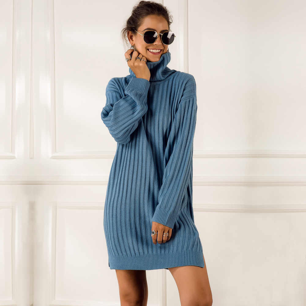 BUENOS elegant knitted sweater dress women autumn turtleneck female blue white sweater dress Sexy solid ladies winter pullover
