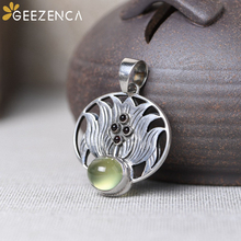 Vintage 925 Sterling Thai Silver Natural Gemstone Prehnite Garnet Lotus Flower Pendant Fine Jewelry For Women Original Design 925 sterling silver flower pendants for women natural hetian jade gemstone elegant orchid engraved fine jewelry