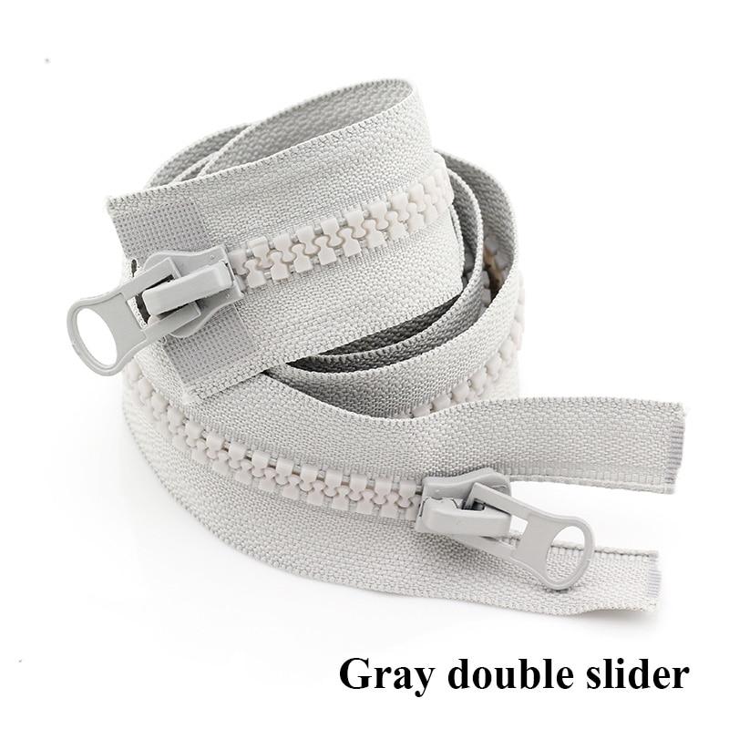 8#15/20/70/80/90/100/120/150/200/300/400/500 см смолы застежка-молния с открытым концом/молнии с закрытым концом автоматической блокировки палатка для швейная молния - Цвет: Gray Double Slider