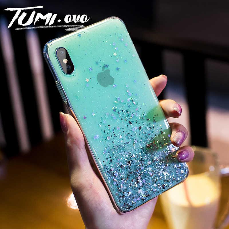 Simple ฟอยล์ดาว Bling Glitter Case สำหรับ iPhone 6 6S 7 8 PLUS Soft TPU ซิลิโคนสำหรับ iPhone X XR XS สูงสุด 11 Pro กรณี