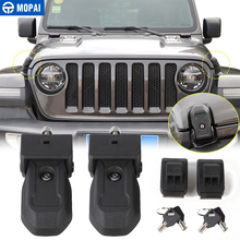 MOPAI Locks Hood for Jeep WranglerJL Car Engine Latch Catch With Key Lock Kit Accessories Wrangler JL 2018 2019