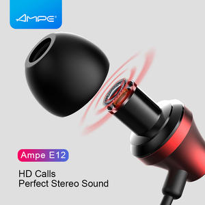 Ampe Earphone Hifi Quad-Core with 3. 5mm-Interface Metal-Case E12 Double-Moving-Coil