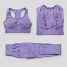 2/3/5pcs Seamless Women Yoga Set Workout Sportswear Gym Clothing Fitness High Waist Leggings Long Sleeve Crop Top Sports Suits