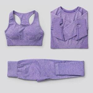 3 pçs sem costura conjunto de yoga ginásio roupas de fitness das mulheres terno de yoga feminino leggings treino superior esporte roupas de treinamento collants