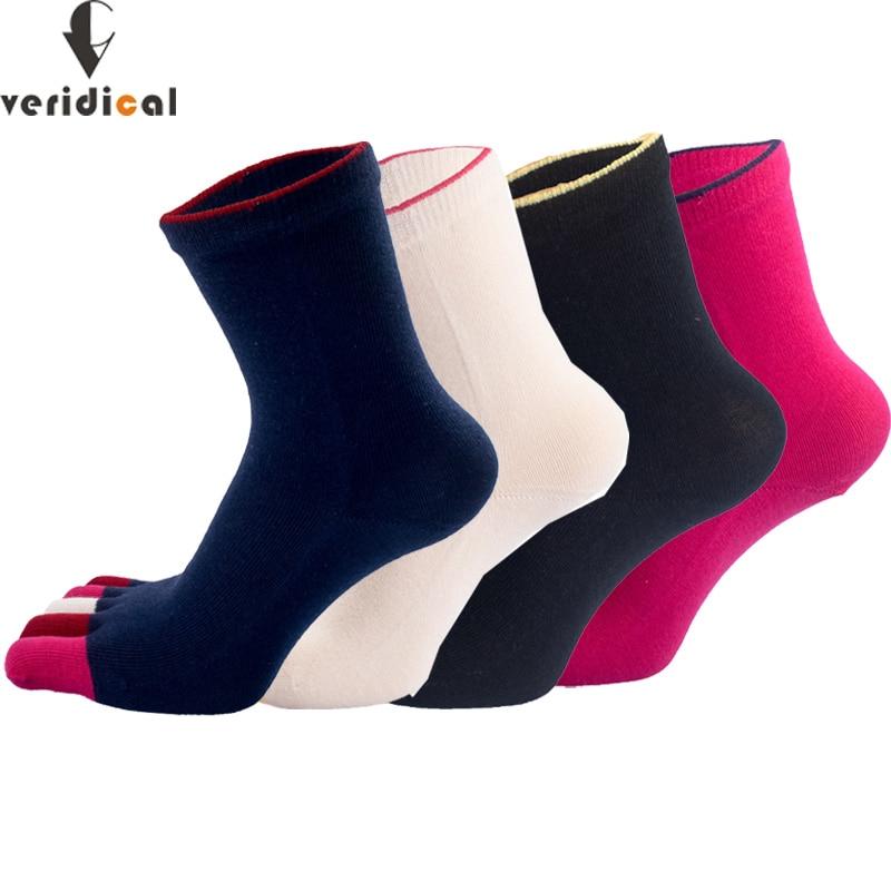 VERIDICAL 5 pairs/lot Fashion Women Toe Socks striped Five Finger Socks cotton white weed short socks harajuku meias feminino