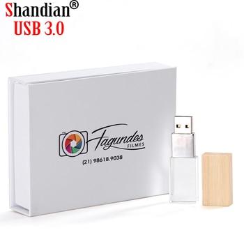 SHANDIAN Wedding Photography Custom LOGO Wooden Crystal Wooden USB 2.0 64GB 32GB 16GB 4GB Version memory flashs stick pen drive