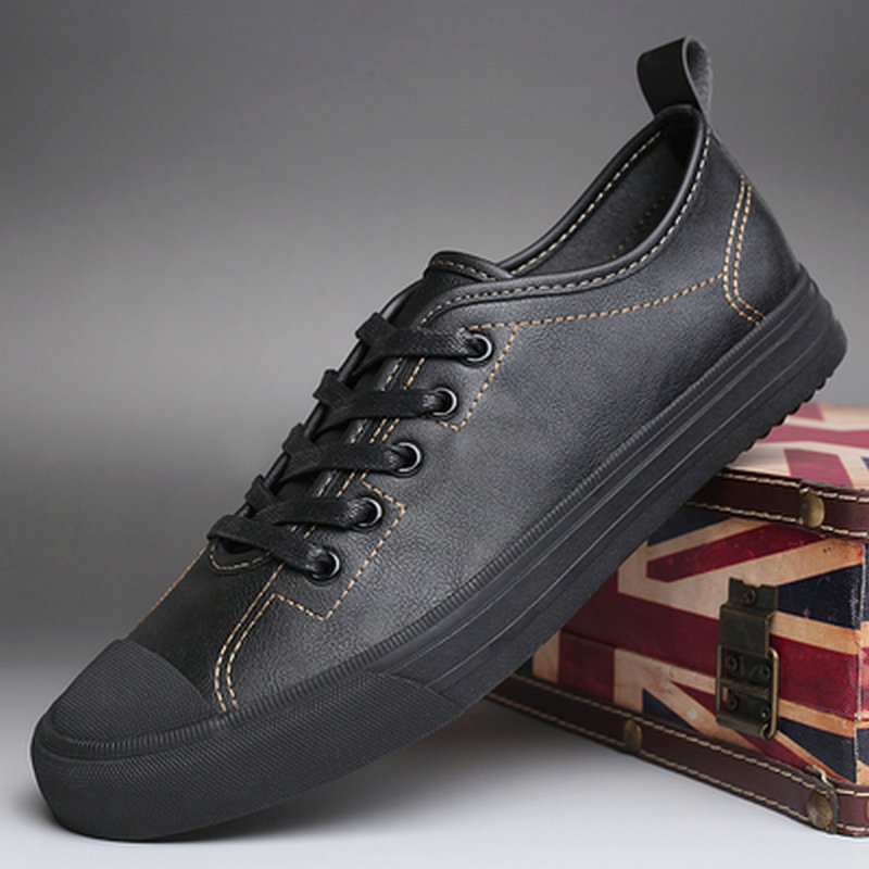 High Quality Fashion Comfortable Men All  Black Flats Leather Shoes Men Non-slip Lace Up Sneaker Running Shoes ZM-50