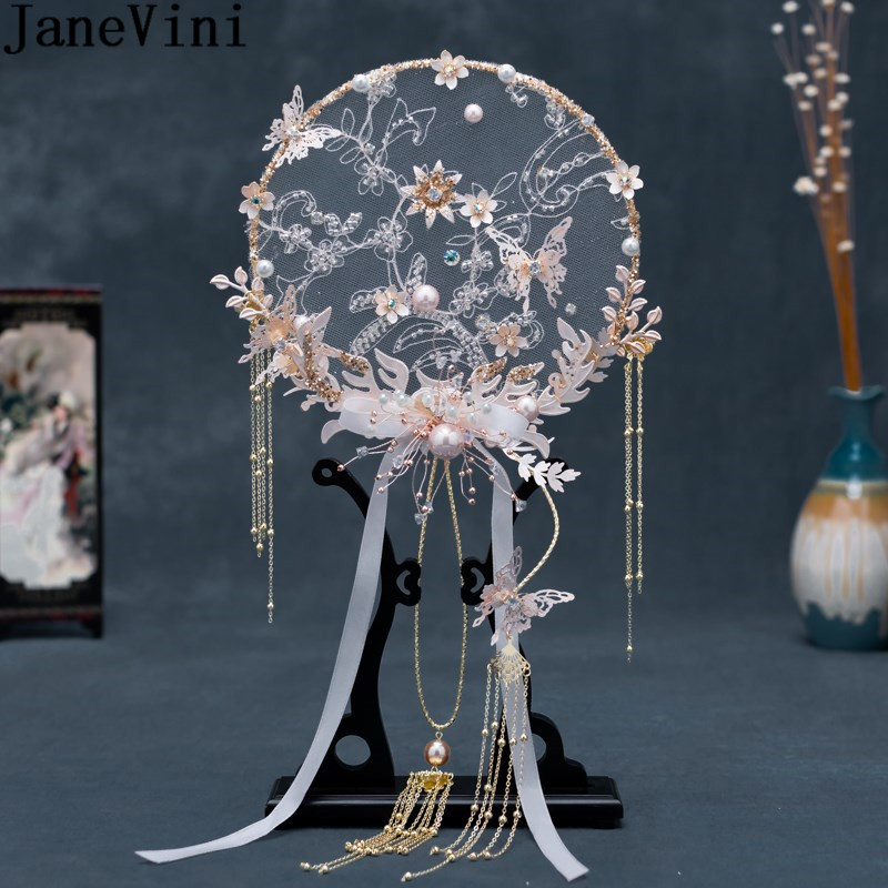 JaneVini 2021 Chinese Style Bridal Fan Wedding Bouquets Crystal Beaded Flowers Butterfly Bride Hand Accessories Tassel Bouquet