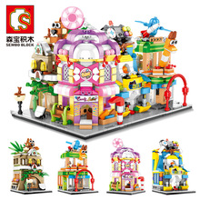 Senbao Mini City View Scene Street Model Building Block Toys Gaming Room Candy Shop Toy Store Architecture Children DIY 208