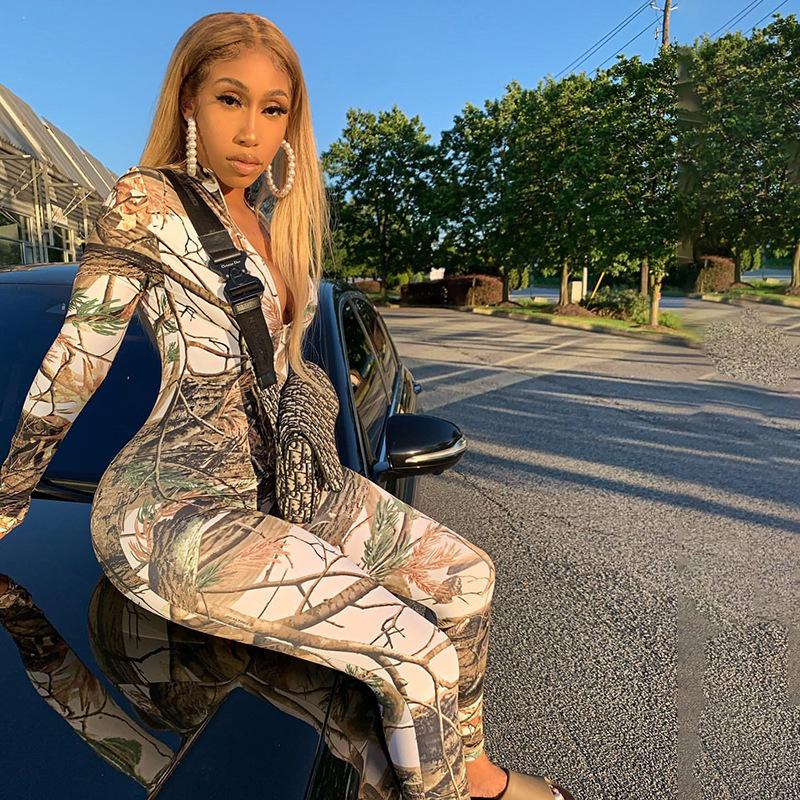 Casual Tree  Print  Jumpsuit Zipper Front Bodysuit Streetwear Skinny Long Rompers Womens Jumpsuit Overalls