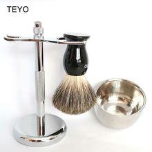 TEYO Shaving Brush  of Pure Badger Hair Set include Brush Shaving Stand Shaving Bowl perfect for wet Shave Safety Razor