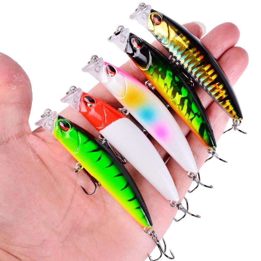5PCS Minnow Fishing Lure Hard Artificial Bait 3D Eyes 8.3cm 10g Fishing Wobbler Bell Diving 0.1m-0.3m Crankbait Minnows