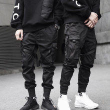 New Hip Hop Boys Multi-pocket Elastic Waist Harem Pant Men Streetwear Punk Trousers Jogger Male Tactical Pants Black Cargo Pants(China)