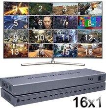 4K HDMI 16x1 Quad Multi viewer Switcher 16 In 1 Heraus Nahtlose Schalter Multiviewer Bild Bildschirm teiler Konverter Ethernet RS232