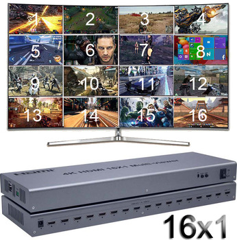 4K HDMI 16x1 Quad Multi-viewer Switcher 16 In 1 Out Seamless Switch Multiviewer Picture Screen Divider Converter Ethernet RS232