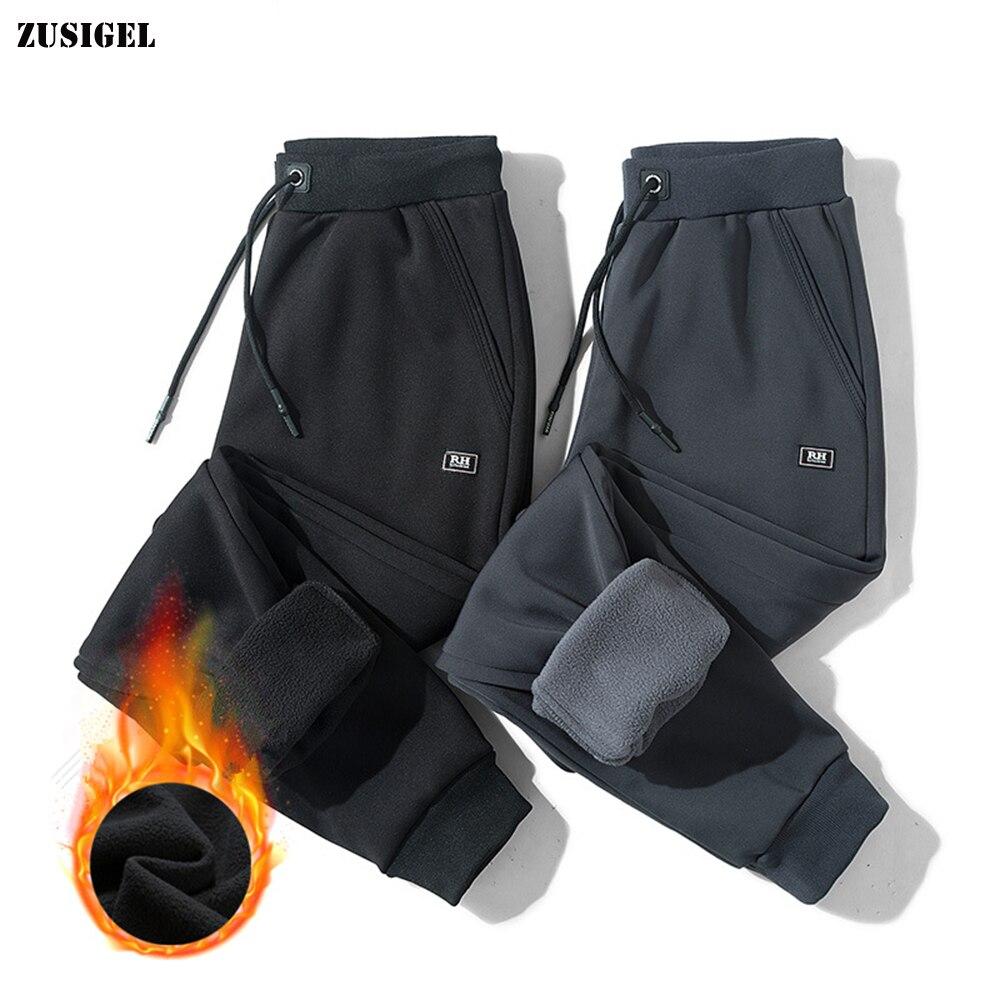 ZUSIGEL Thicken Fleece Warm Pants Men Trousers Solid Loose Sport Men Casual Pants Plus Size Drawstring  Mens Winter Pant M-8XL