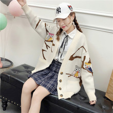 Milinsus 2019 autumn Style wild Ladies sweater coat Creative cartoon pictures Long sleeves V-neck fashion Half button Cardigan