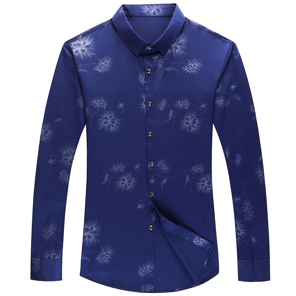 2020 Brand Long Sleeve Men Social Shirt Streetwear Casual Dandelion Shirts Dress Mens Slim Regular Fit Clothes Fashions 80503 3