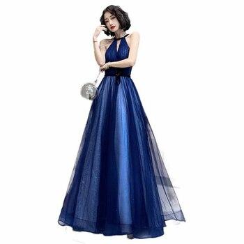 Blue sexy evening dress female halter fantasy skirt host catwalk  annual party evening dress girl adult ceremony evening dress
