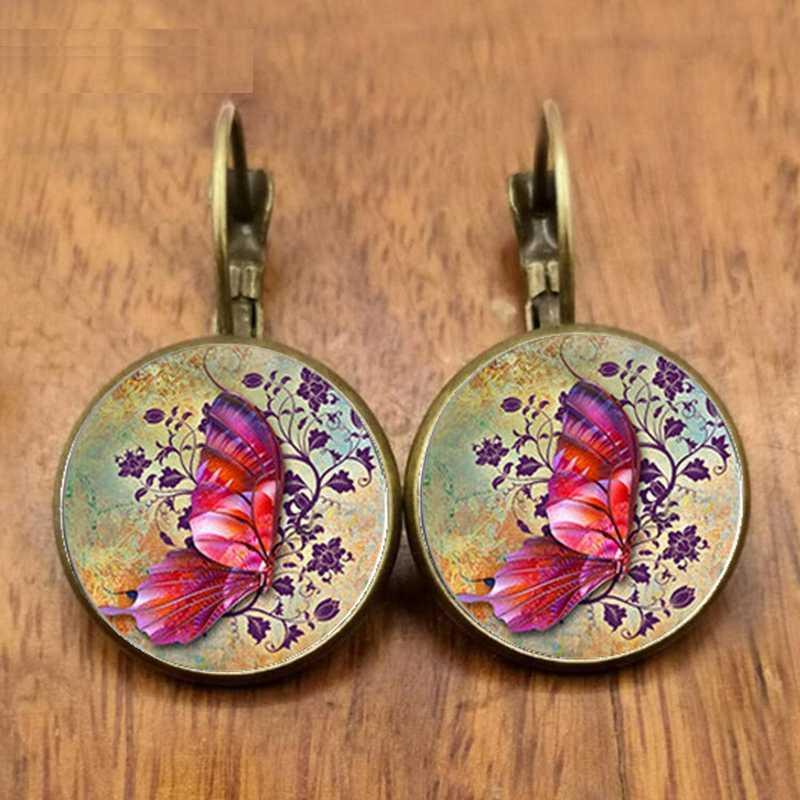 2020/2021 Bohemian Kupu-kupu Anting-Anting Vintage Round Glass Dome Anting-Anting untuk Wanita Musim Panas Perhiasan