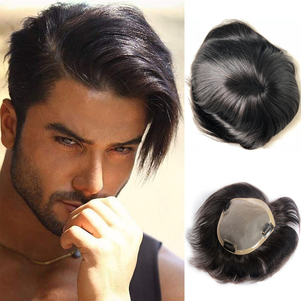 BYMC Human Hair Toupee For Men Lace With NPU Human Hair Toupee Replacement System Natural Straight With Clips