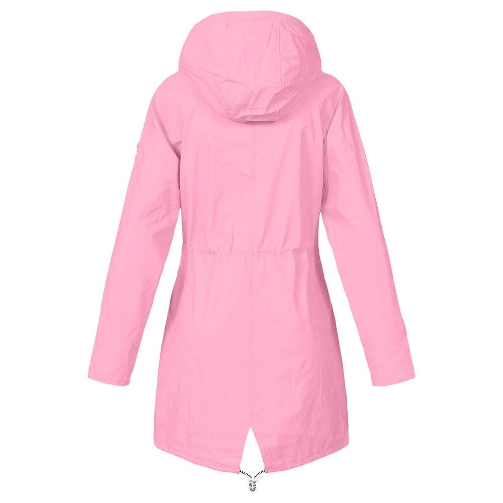 Women Solid Color Rain Jackets Outdoor Plus Size Waterproof Raincoat With Hooded Pocket Ladies Hiking Windproof Raincoat #T 3