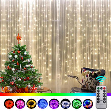 Luzes de cortina led usb luzes de fadas ramadan decoração salão beleza estética decoração do quarto para o casamento ano novo feriado natal jardim