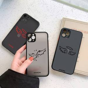 Image 2 - Friends Demon Angel Wing Couple BFF Cartoon Phone Case For iphone 12 11 7 8 plus mini x xs xr pro max matte transparent cover