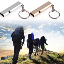Emergency Multi-Tool Keychain Alloy Survival Outdoor Edc Stainless-Steel Whistle Double-Pipe