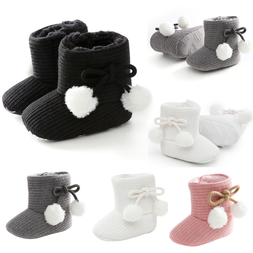 Winter Baby Girl Boots Bow-knot Pom Ball Warm Snow Boots First Walkers Shoes Fashion Cute Solid Toddler Infant Booties 0-18M A50