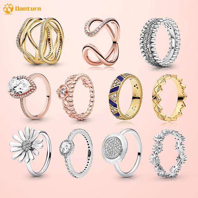 Danturn New 925 Sterling Silver Daisy Flower Crown Pink Wrapped Open Rings Original 925 Silver Women Rings Brand Jewelry Gift 1